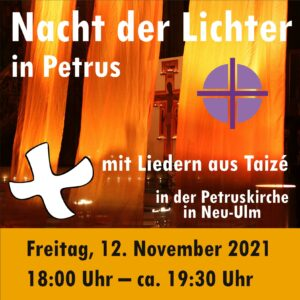 """""""Kleine Jugend-Nacht der Lichter"""" in der Petruskirche in Neu-Ulm @ Petruskirche Neu-Ulm"""
